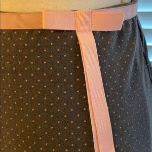 Pink ribbon & lace trimmed gray skirt & pink dots
